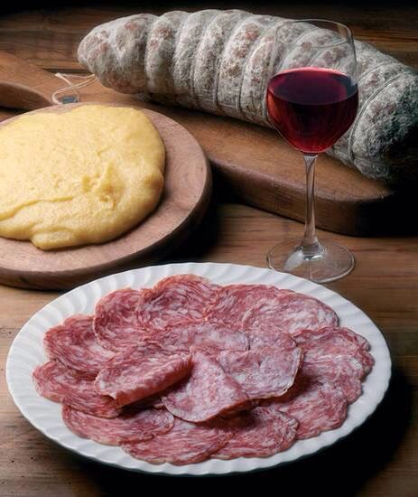 Polenta, sopressa and a glass of red wine