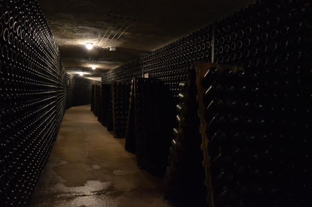 The famous pupitre where winemakers do the remuage for sparkling wines