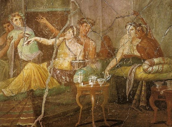 A painting representing the pleasure of wine back to Roman times