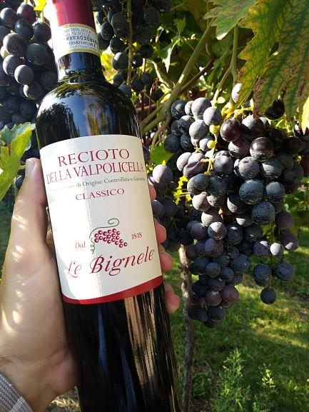 A bottle of Recioto della Valpolicella Classico, the most traditional dessert wine in the area