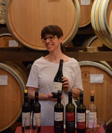 Eleonora with Le Marognole wine selction during a tasting
