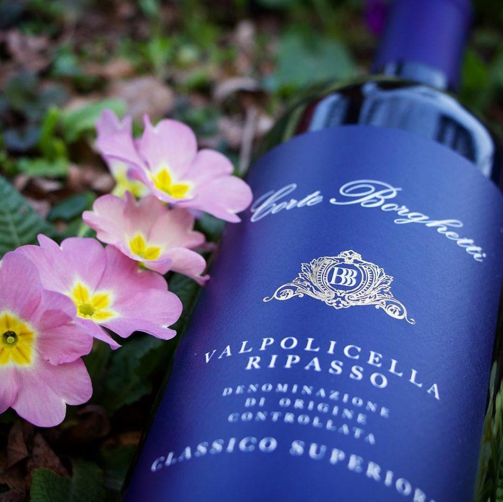 A bottle of Valpolicella Ripasso produced by the winery Corte Borghetti