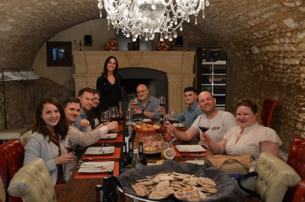 Barbara and her guests in her beautiful tasting room