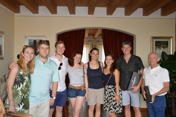 Valentina, the fifth one from the left, with a group of guests after the tasting