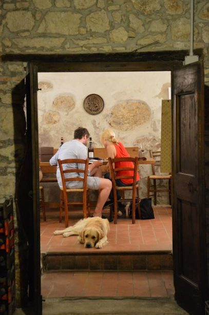 The beautiful Axel takes part in the wine tastings at Corte Archi